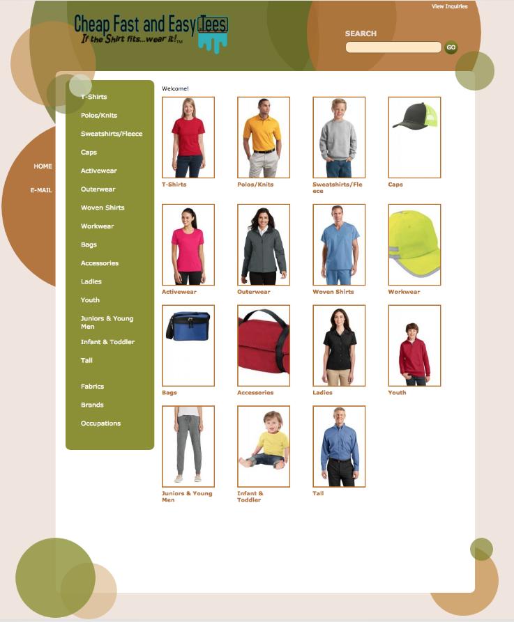 Custom T Shirts main catalog